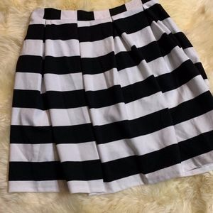 High Waist Skirt Black And White Stripe